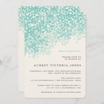 teal blue light shower bridal shower invitations