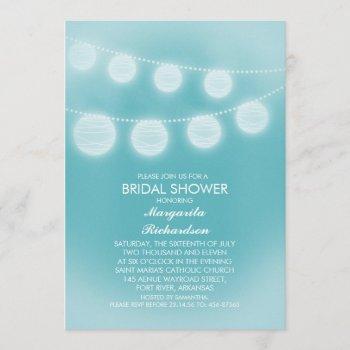 teal blue romantic lanterns bridal shower invitation