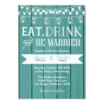 teal blue rustic wood wedding invitation
