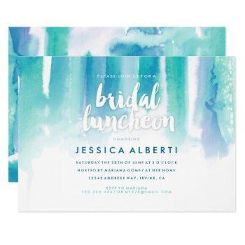 teal blue watercolor bridal luncheon invitation