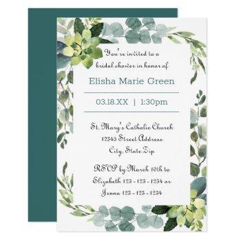 teal bouquet frame - 3x5 bridal shower invitation