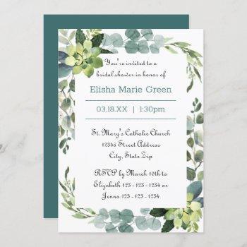 teal bouquet frame - bridal shower invitation