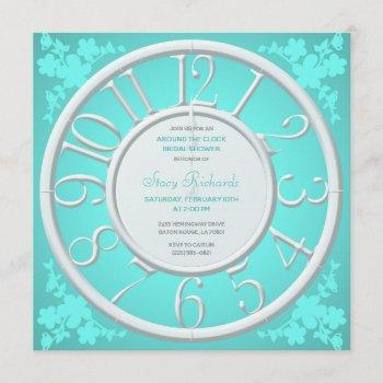 teal floral around the clock bridal shower invite