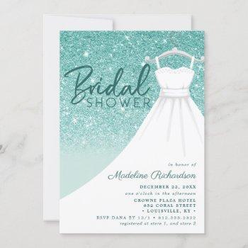 teal glitter wedding dress chic bridal shower invitation