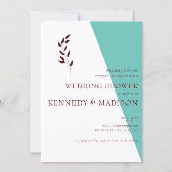 teal monogram geometric wonderful wedding invitation