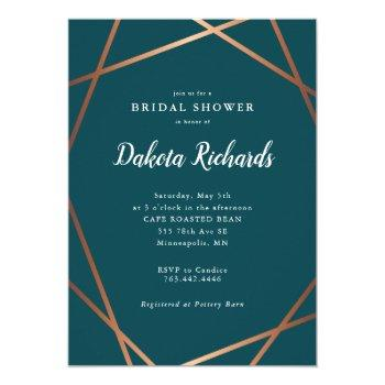 teal rose gold geometric bridal shower invitation
