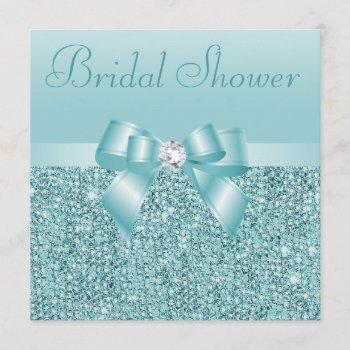 teal sequins, bow & diamond bridal shower invitation