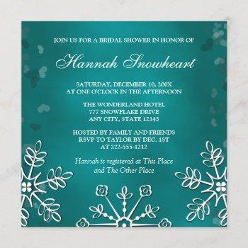 teal snowflake  bridal shower invitation