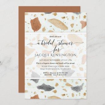 terrazzo terra-cotta modern earthy bridal show invitation