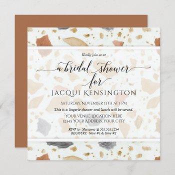 terrazzo terra-cotta modern square bridal shower invitation