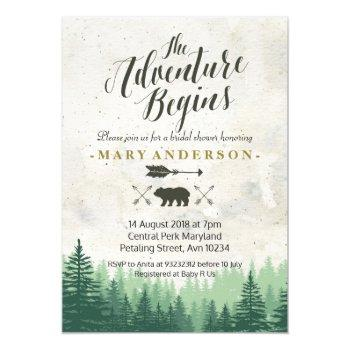the adventure begins bridal shower invitation