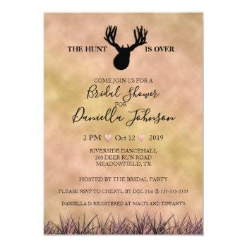 the hunt is over wedding bridal shower invitation
