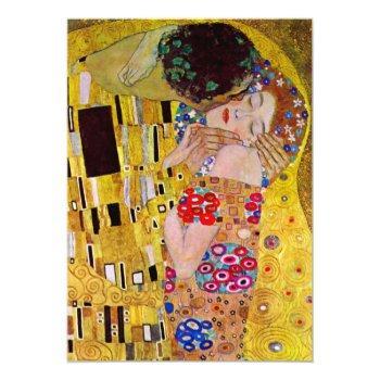 the kiss gustav klimt, victorian art bridal shower invitation