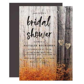 the two lovers carved trees fall bridal shower invitation