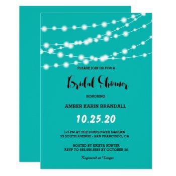 tiffany blue glowing string lights bridal shower invitation