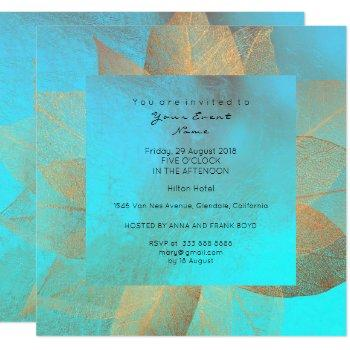 tiffany blue metallic leaf gold minimal shiny invitation