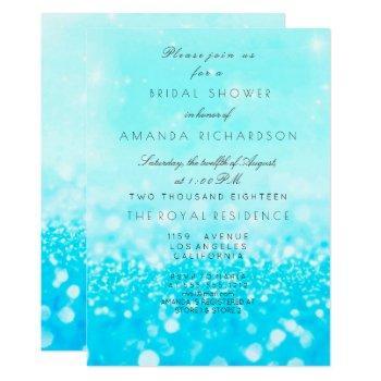tiffany ocean blue aqua glitter bridal shower invitation