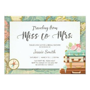 travel bridal shower invitation miss to mrs