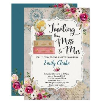 travel bridal shower invitation miss to mrs shower