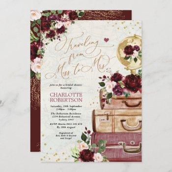travel bridal shower miss to mrs vintage bugundy invitation
