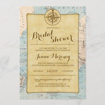 travel map bridal shower invitation