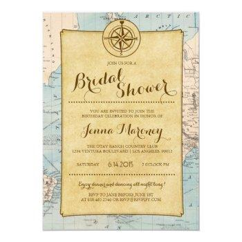 travel map bridal shower invitation