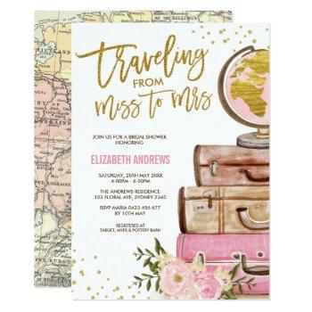 travel map bridal shower / pink gold floral invitation
