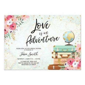 travel themed bridal shower love is adventure pink invitation