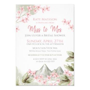 traveling from miss to mrs. bridal shower invitation