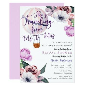traveling from ms. to mrs. bridal shower lavender invitation