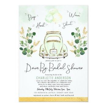 Small Traveling Greenery Gold Drive By Bridal Shower Invitation Front View