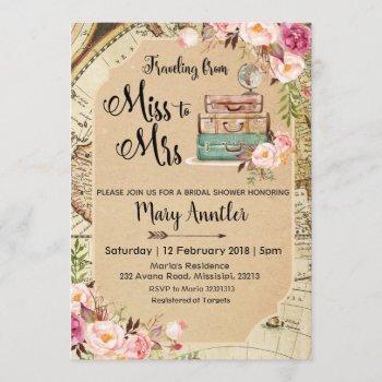 traveling luggage bridal shower invitation