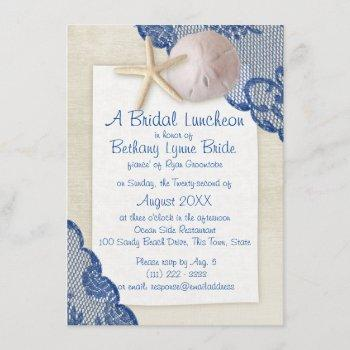 treasured beach and lace blue bridal shower invitation