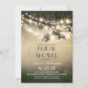 tree branches & string lights bridal shower invitation