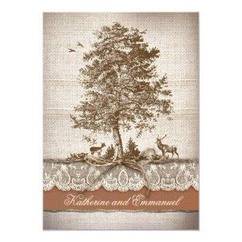 tree burlap lace rustic romantic bridal shower invitation