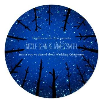 trees in the night sky rustic wedding invitations
