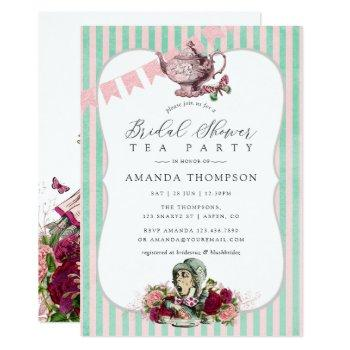 trend alice in wonderland tea party bridal shower invitation