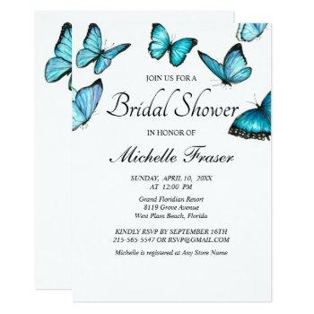 trendy blue watercolor butterflies bridal shower invitation