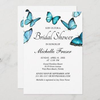 trendy blue watercolor butterflies bridal shower invitation