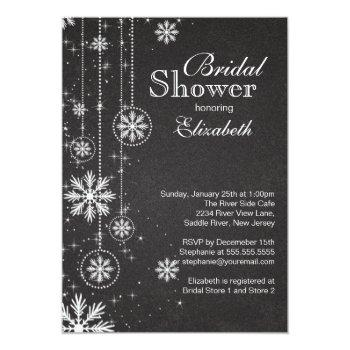 trendy chalkboard snowflakes winter bridal shower invitation