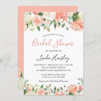 trendy coral and peach floral bridal shower invitation