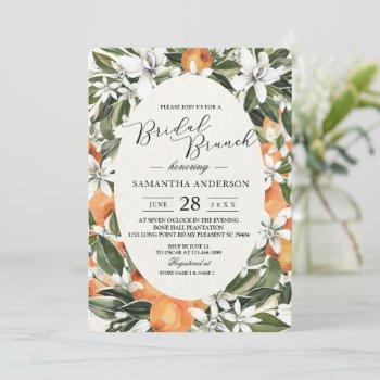 trendy orange flowers & leaf beauty frame invitation