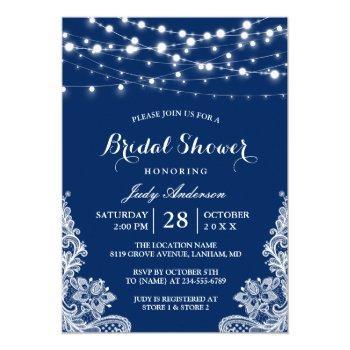 trendy string lights lace navy blue bridal shower invitation