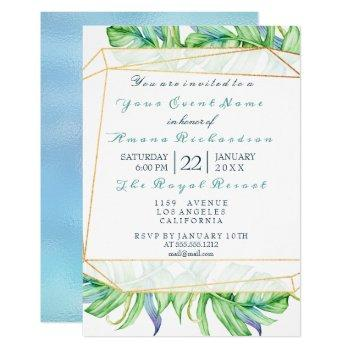 tropic aqua beach ocean gold frame birthday bridal invitation