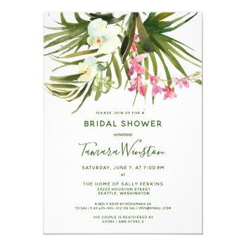 tropical beach greenery pink floral bridal shower invitation