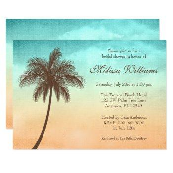 tropical beach palm tree bridal shower invitation