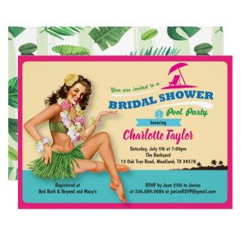 tropical bridal shower invitation pool party