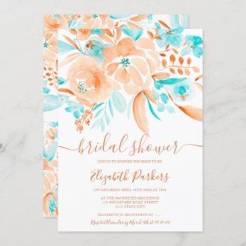 tropical coral orange teal floral bridal shower invitation
