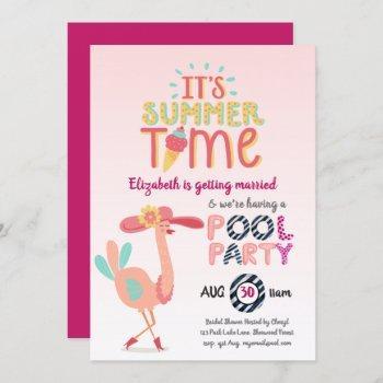 tropical flamingo pool party modern fun pink invitation