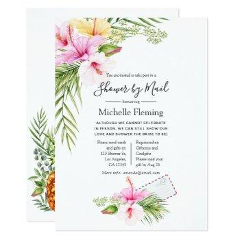 tropical floral bridal or baby shower by mail invitation